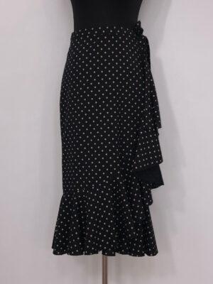 Slå-om-nederdel sort med beige prik kort for