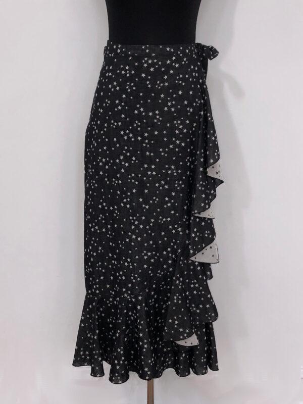 Slå-om-nederdel sort med stjerner for