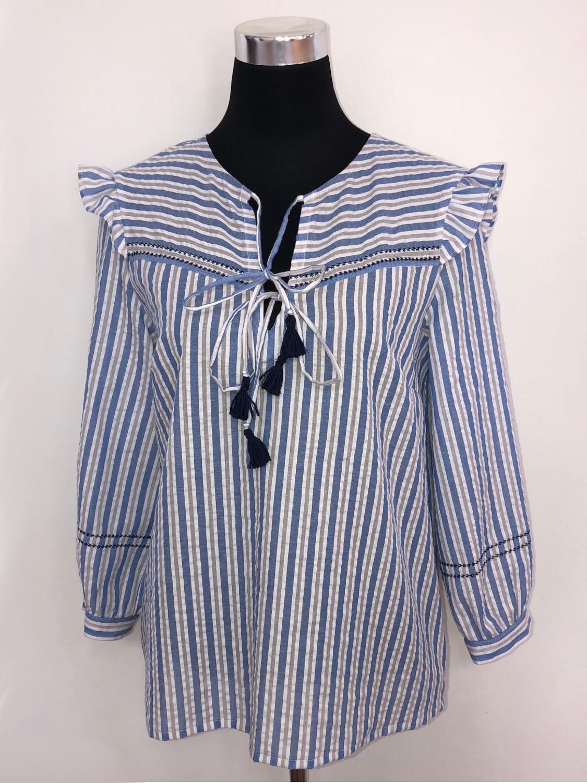 new arrival 20aea 16205 Stribet bluse med bærestykke og vinger - blå