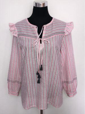 Bluse med bærestykke og vinger - rosa - for