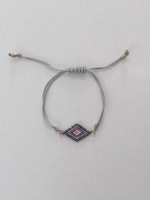 Armbånd med perlerude syet af små glasperle grå/rosa - grå snor