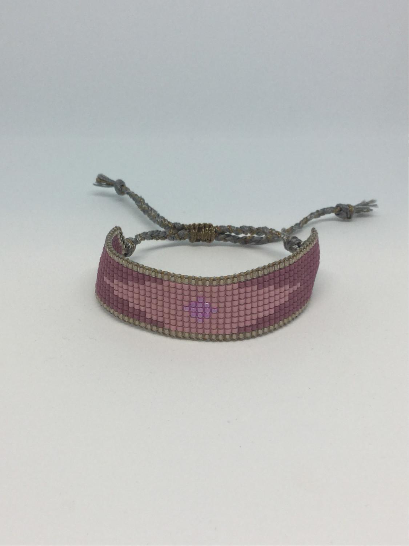 Vævet perlearmbånd bredt - rosa