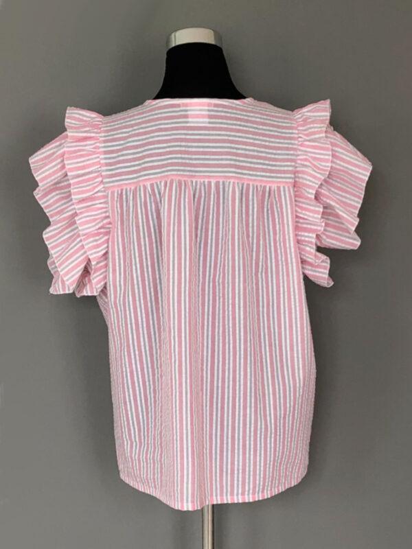 Stribet bluse med bærestykke og dobbelt ærmeflæser i rosa - bag