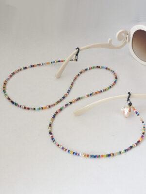 Brillesnor i miks af farver og barokperle - detalje