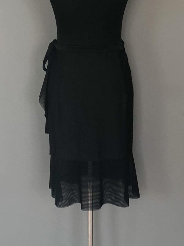 Knæ-lang slå-om-nederdel med net volant - bag