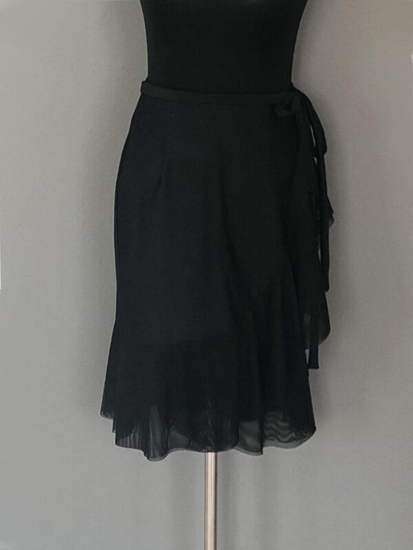 Knæ-lang slå-om-nederdel med net volant - for
