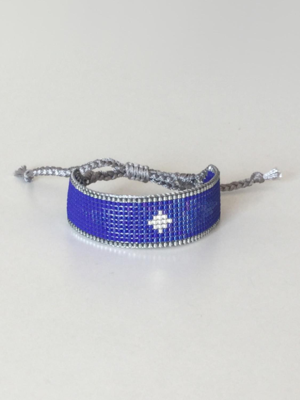 Vævet perlearmbånd bredt - kobolt blå