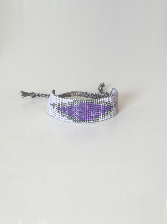 Vævet perlearmbånd bredt med rude i lilla
