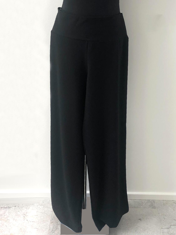 Bukser i sort med stribet sølv bånd