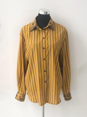 Sennepsgul skjorte med striber - for