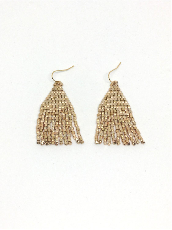 Øreringe med perlefrynser i guld