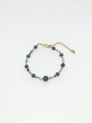 Armbånd med krystaller og peacock ferskvandsperler