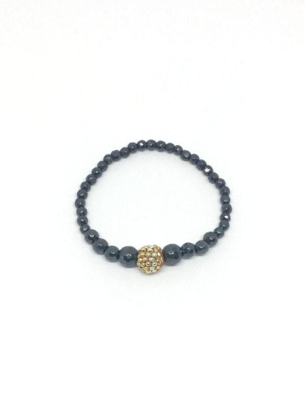 Hematit armbånd med perlekugle i guld