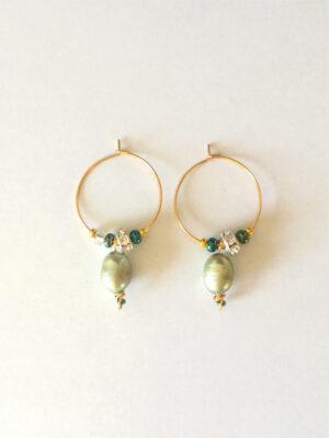 Kreolerøreringe med grønne perler