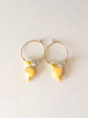 Kreolerøreringe med gule perler