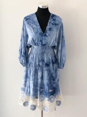 Blå batik kjole - for