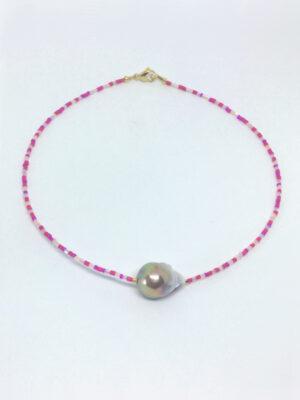 Pink halskæde med mauve barokperle