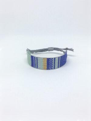 Stribet perlearmbånd i blå
