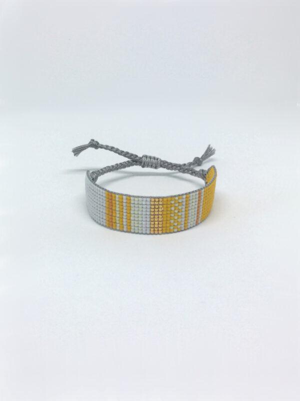 Stribet perlearmbånd i gul