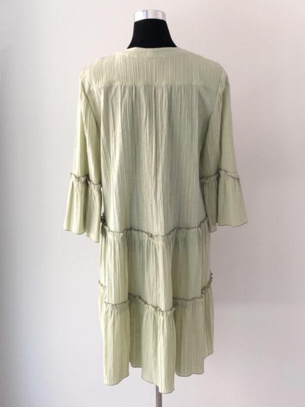 Lys grøn kjole med flæser - bag