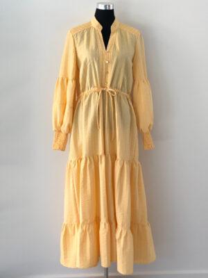 Gul maxi kjole i bæk og bølge - for