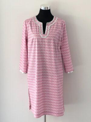 Mønstret kort kaftan kjole - for