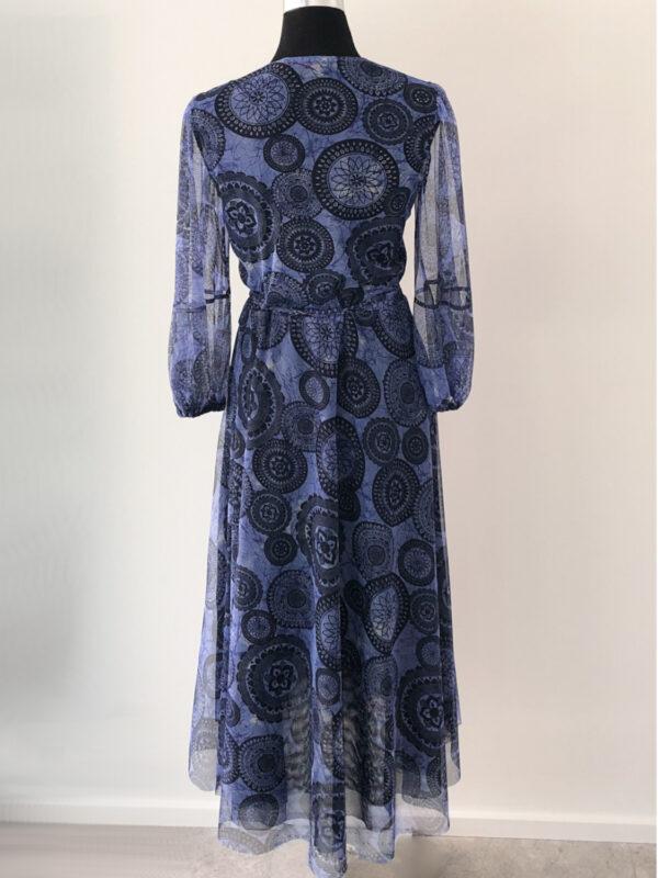 Slå-om kjole i blåt meshstof - bag
