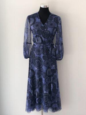 Slå-om kjole i blåt meshstof - for