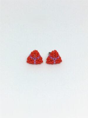 Koralrød trekantet ørestick - mini